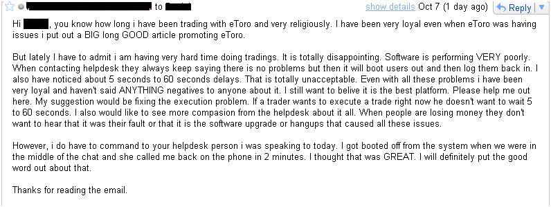 Email to eToro Account Manager